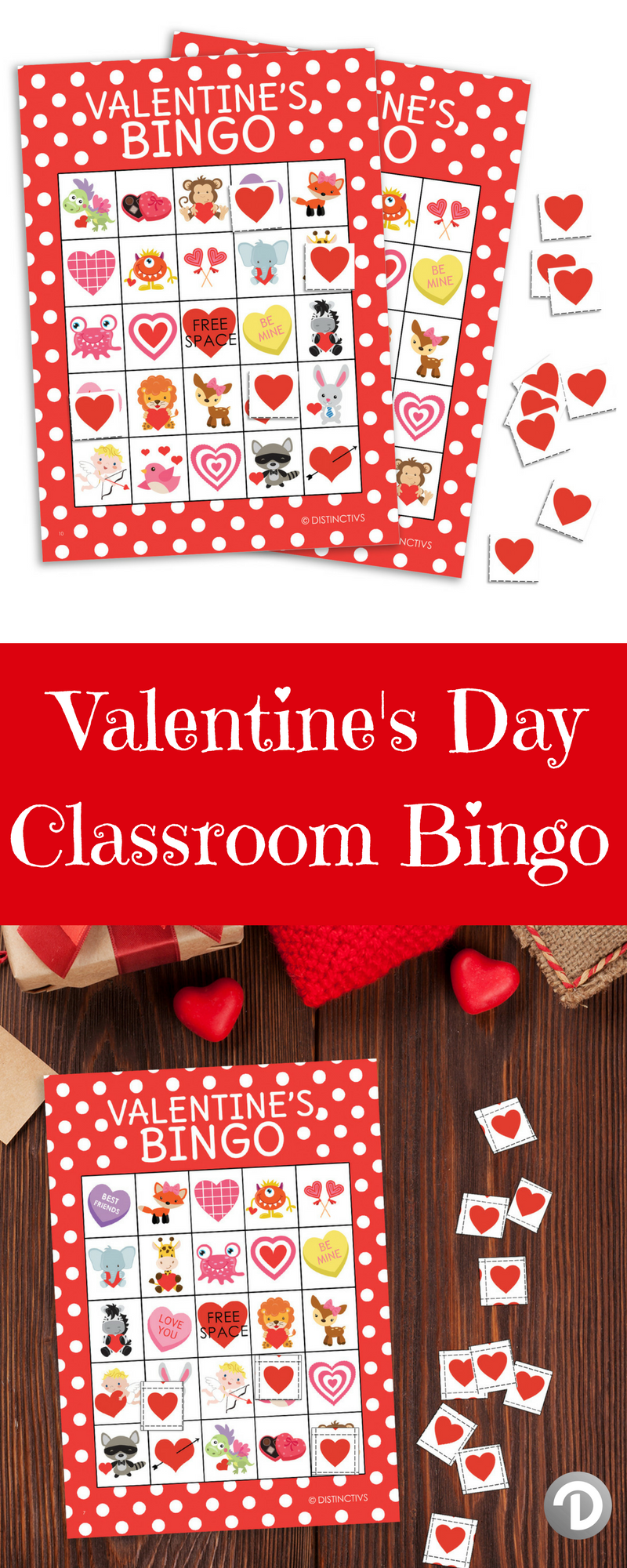 Valentines day bingo game party activity 24 player cards