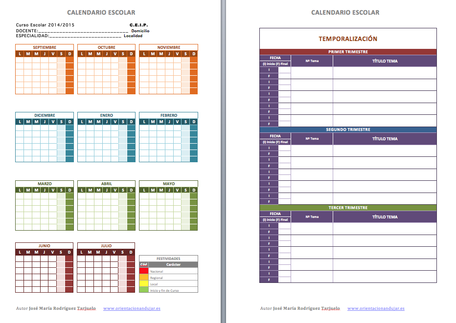 Calendario escolar con temporalizaciones PRIMARIA Y SECUNDARIA ...