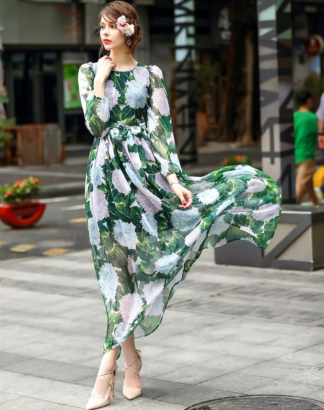 5adf7f3145 #VIPme Green Floral Printed Long Sleeve High waist Chiffon Midi Dress ❤ Get  more outfit ideas and style inspiration from fashion designers at VIPme.com.