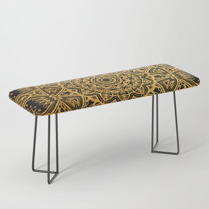 Marvelous Mandala Black And Gold Art Pattern Bench Home Decor Creativecarmelina Interior Chair Design Creativecarmelinacom