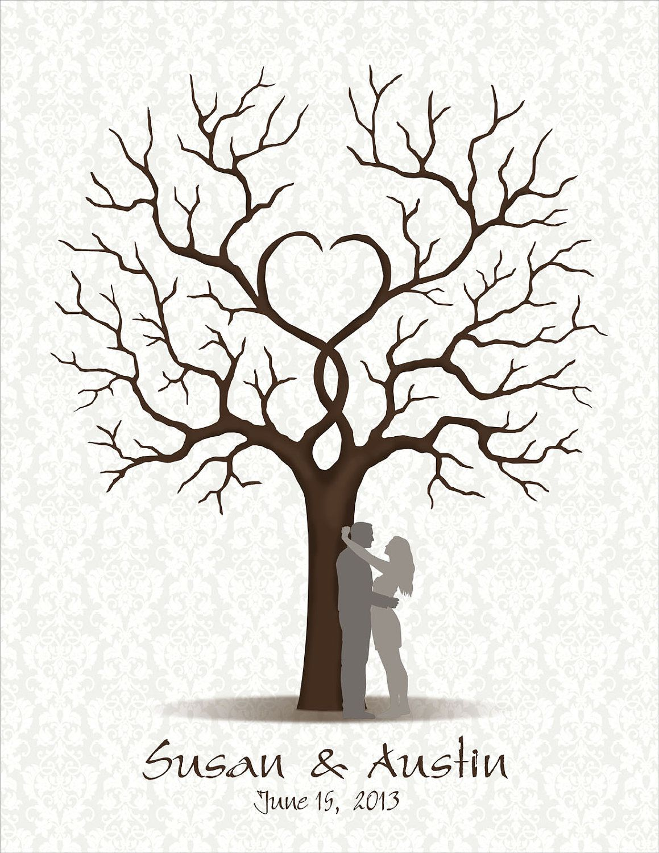 Wedding Guest Book, Wedding Guestbook, Wedding Tree Fingerprint