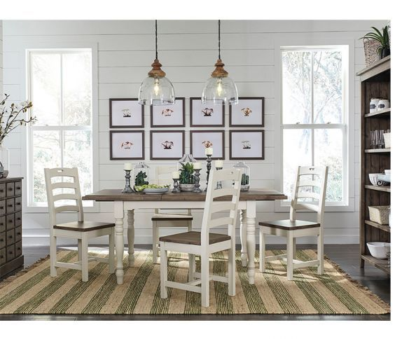 Made of repurposed solid pine, the rustic two-tone San Marino dining ...