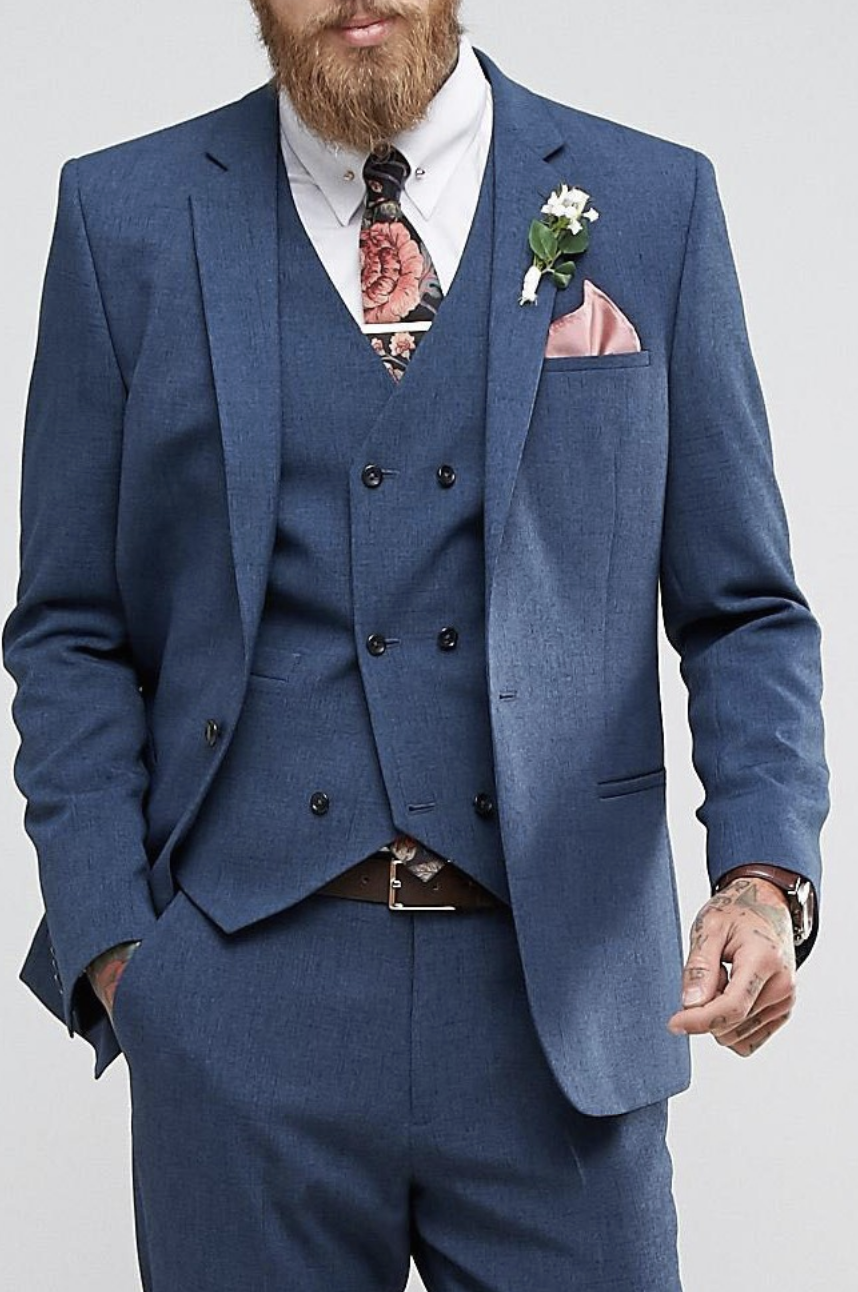 ASOS Wedding Slim Suit Jacket in Cross Hatch with Printed Lining ...