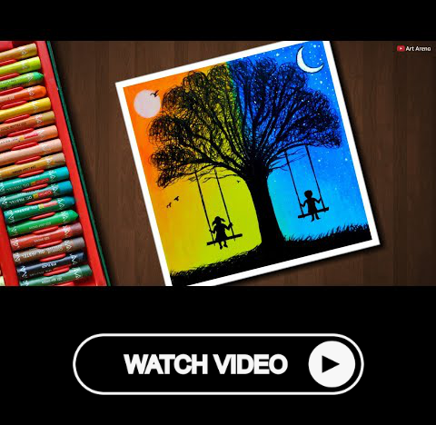 Day And Night Scenery Drawing For Beginners With Oil Pastels Step By Step Drawing For Beginners Night Scenery Oil Pastel