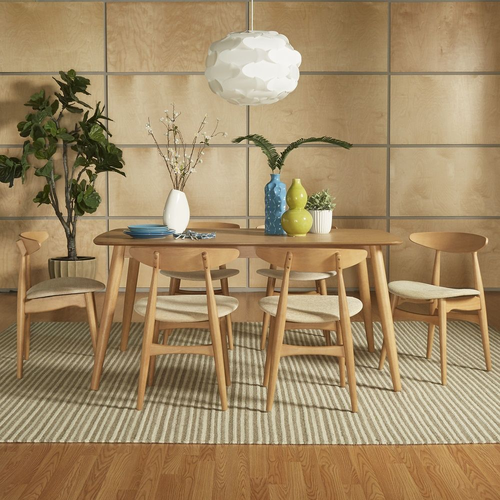 Norwegian Danish Modern Oak Tapered Dining Set iNSPIRE Q Modern 59 table]-Beige  Fabric with 4 chairs+ bench), Brown, Size Sets