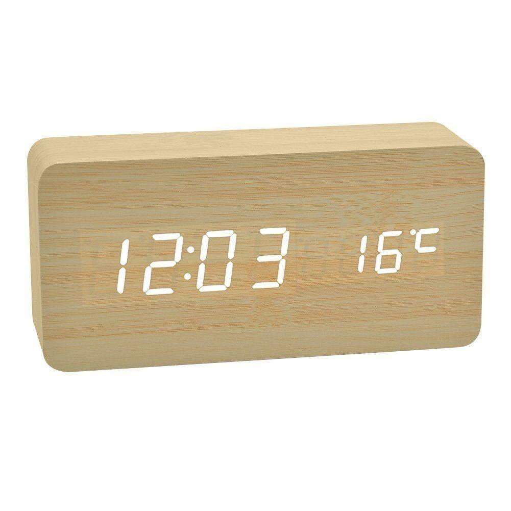 Amazon De Led Uhr Alarm Wecker Mit Sprachsteuerung Und Temperatur