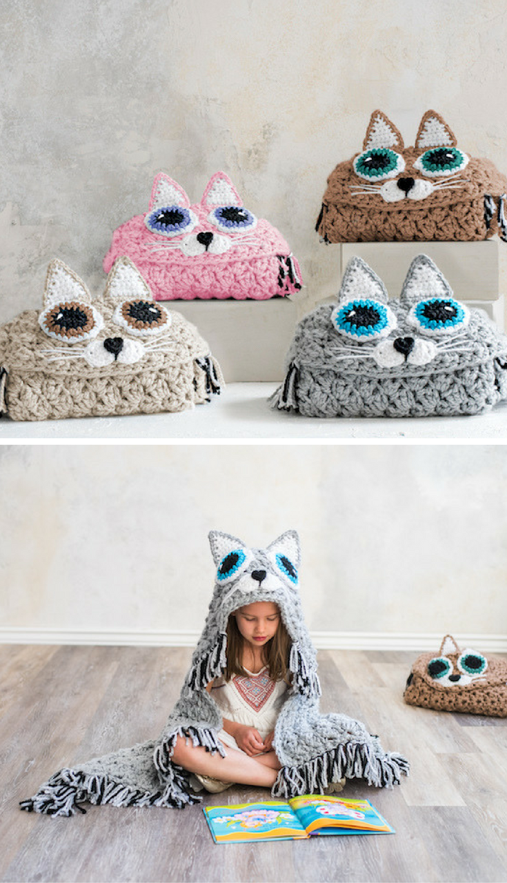 Crochet Hooded Cat Blanket! | Crochet | Pinterest | Manta, Tejido y ...