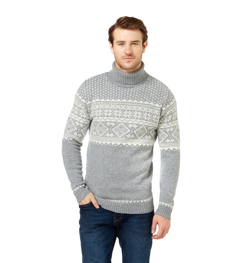 Mens Lambswool Fair Isle Turtle Neck Sweater | Men's Health ...