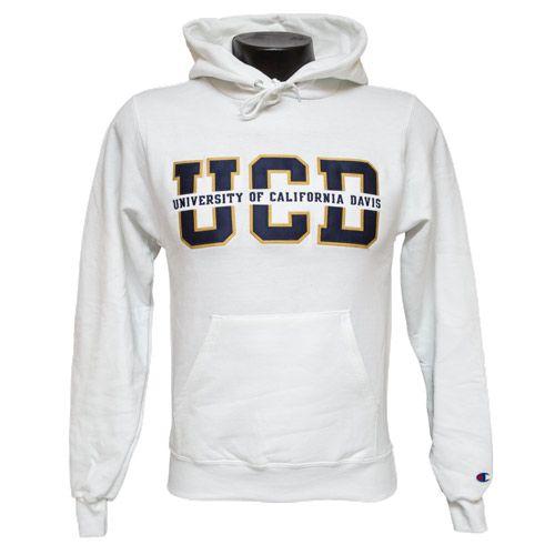 Uc Davis White Splitfont Hoodie 50 Cotton 50 Polyester Made By Champion Eco Fleece University Of California Bookstore Davis