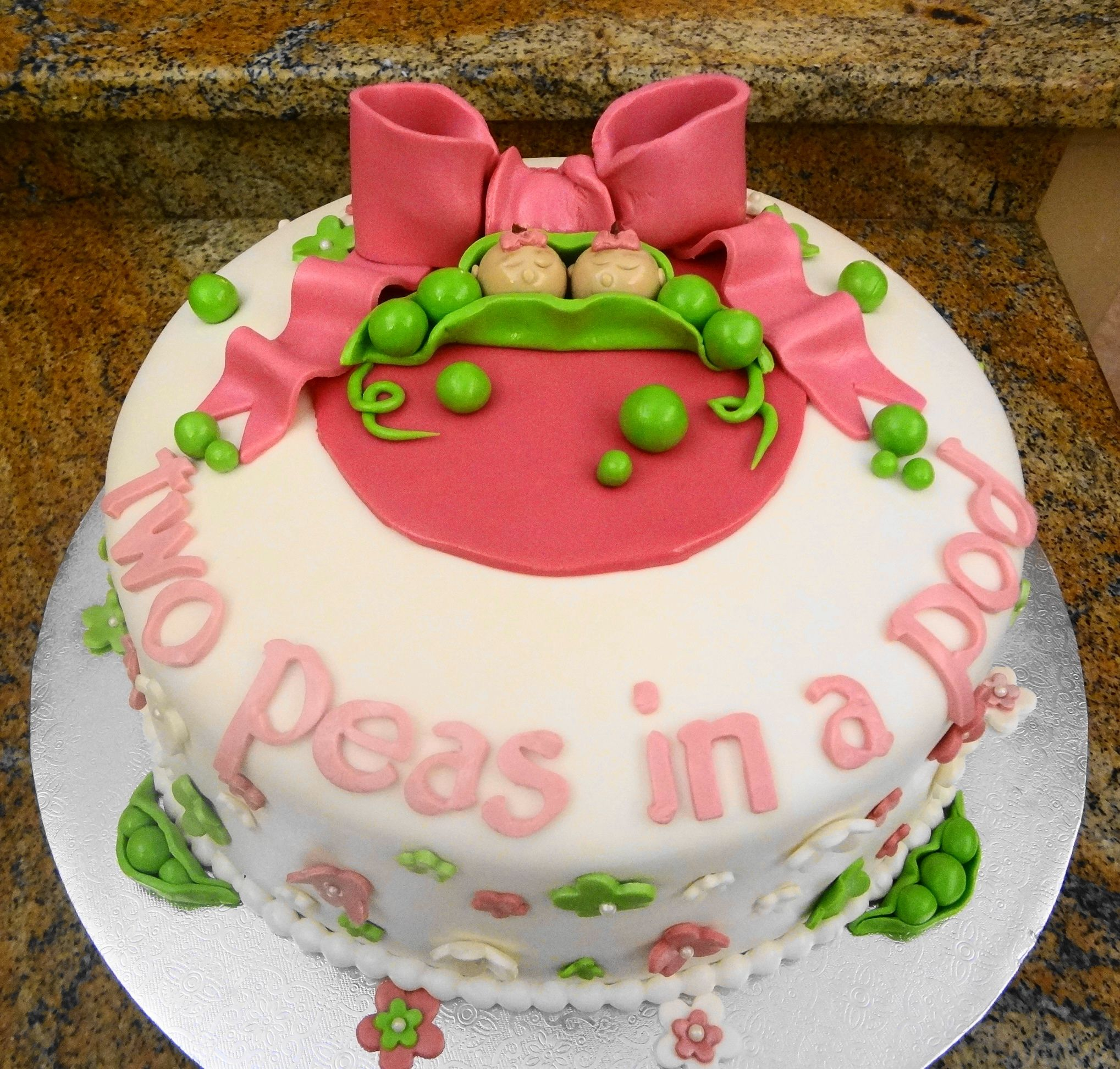 Two Peas in a Pod Baby Shower Cake for Twin Girls