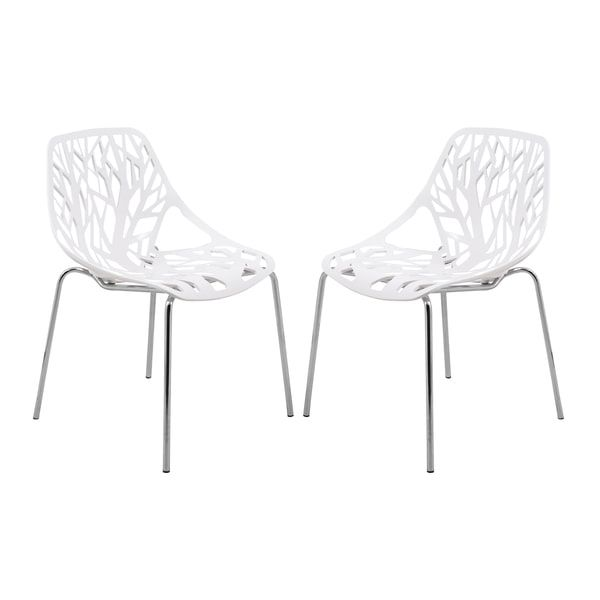 Leisuremod Asbury Modern White Dining Chair With Chrome Legs Set Of 2