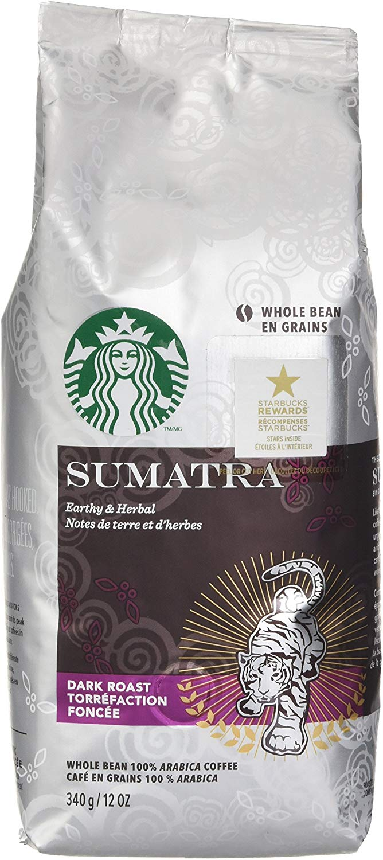 Starbucks Sumatra Dark Roast Whole Bean Coffee, 340g Bag