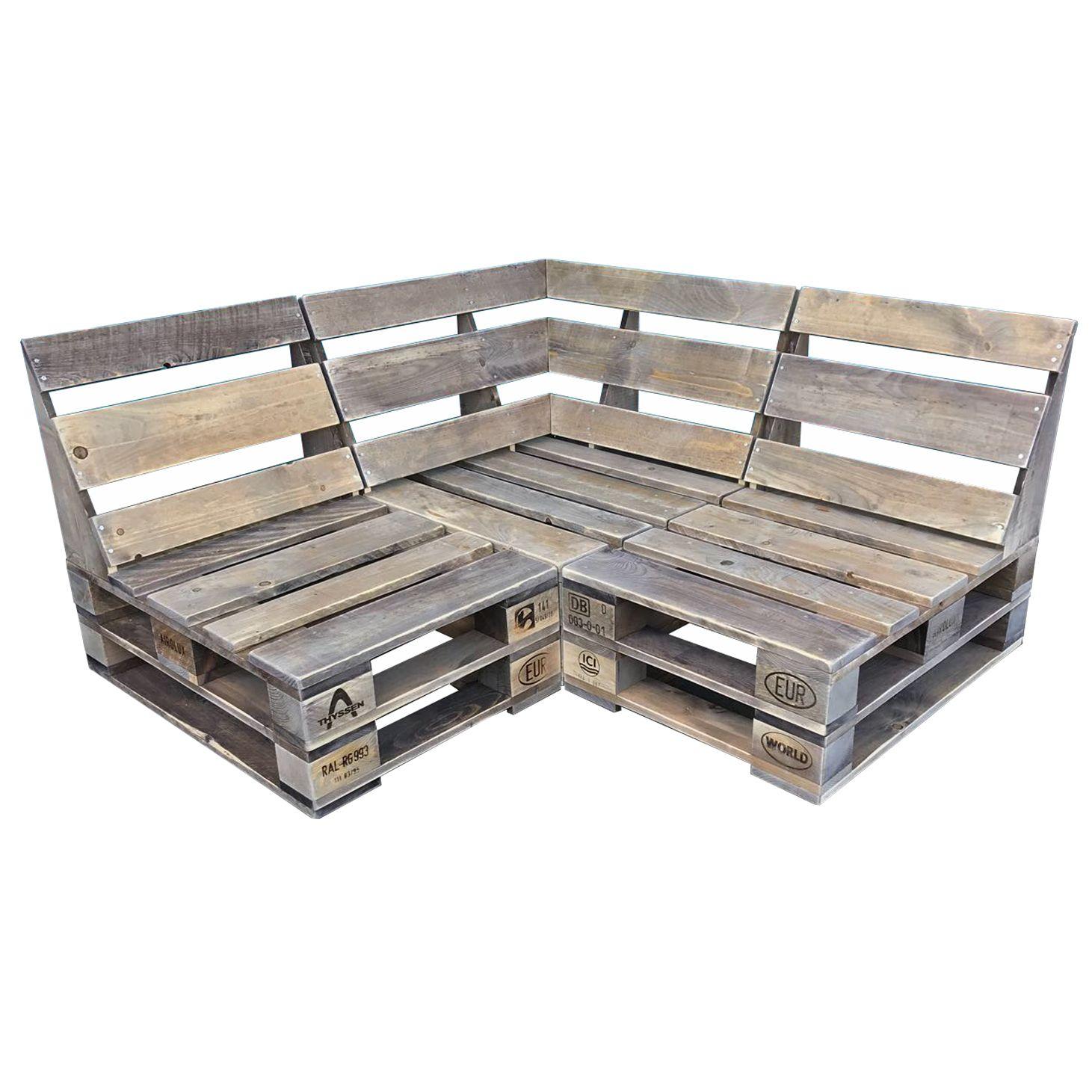 Palettenmöbel: Lounge-Sofa Kombination Sixty-COMFY-COZY 140 cm x 140 cm  / T=80 cm / H=76 / Sitzhöhe =35 (cm) lieferbar auch in 200 cm x 200 cm #sofaauspalletten