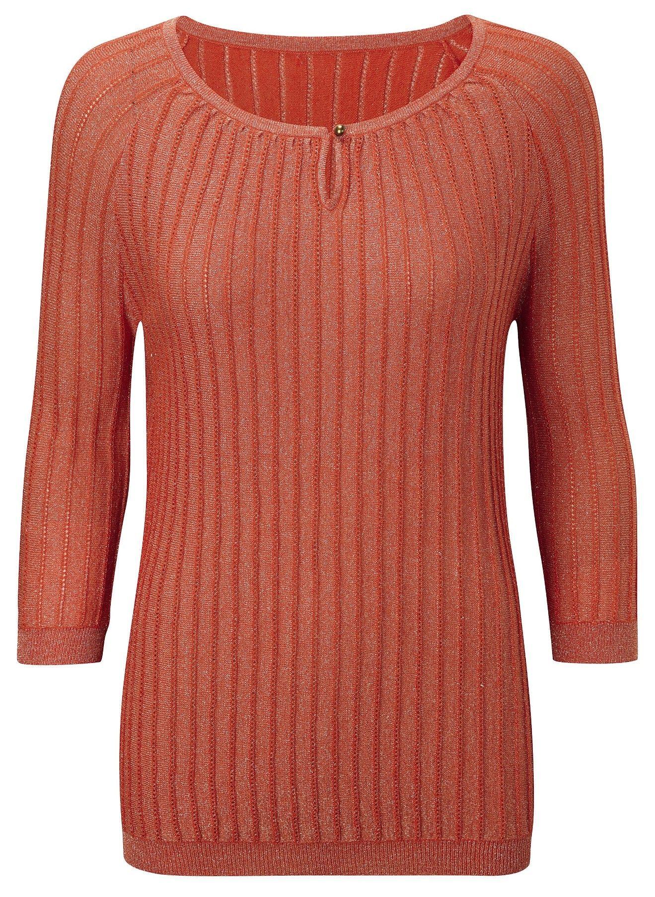 Damart burnt orange keyhole sweater, product code B446. www.damart ...