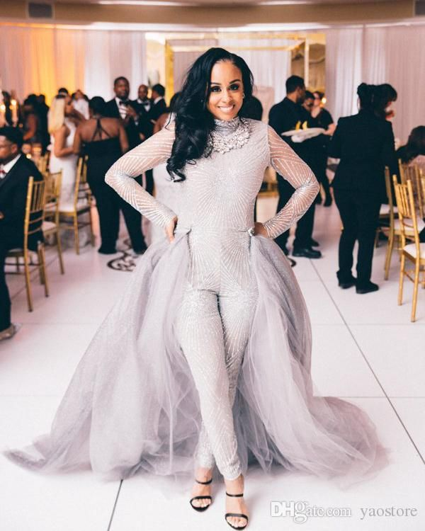 1188888fd7a6 2017 New Arrival Wedding Jumpsuit Dresses With Detachable Train Stunning  Beading Sequins Gray Tulle Bridal Dresses Long Sleeves Custom Made White  Mermaid ...