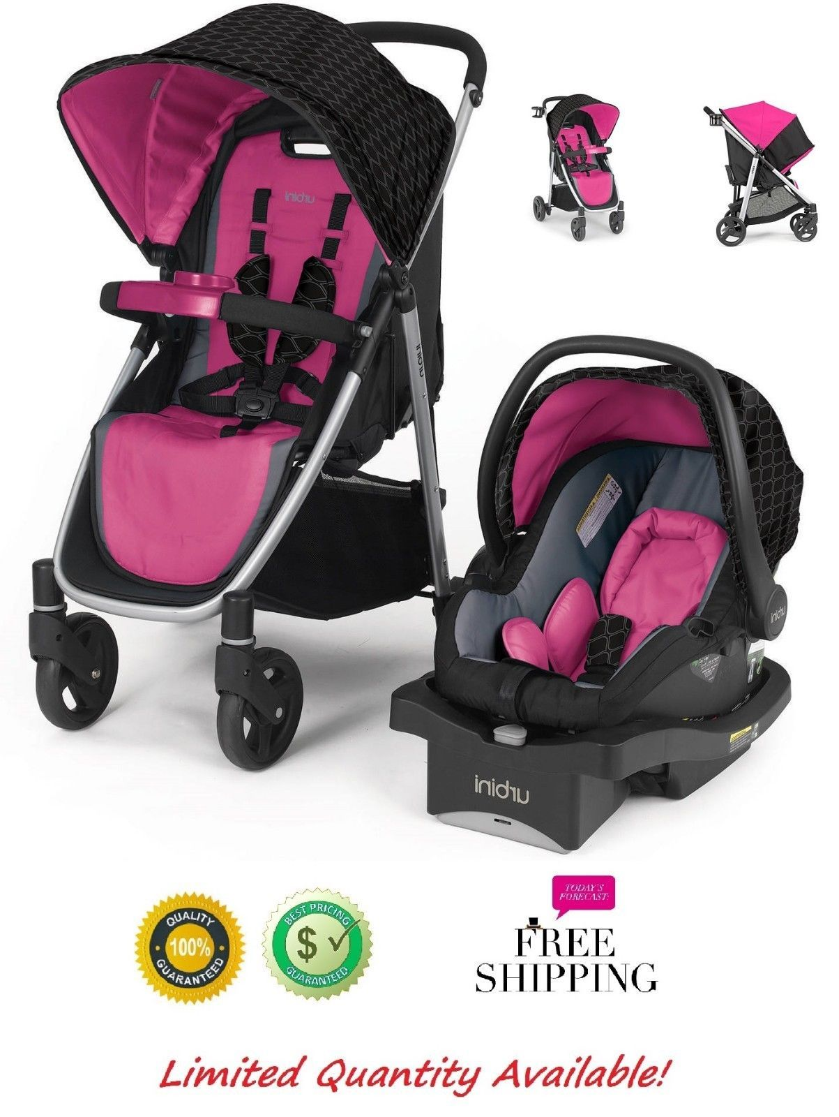 3 In 1 Baby Stroller And Car Seat Combo Infant Girl Urbini Omni Travel System