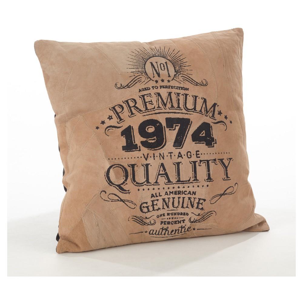 Camel corium printed design leather throw pillow saro