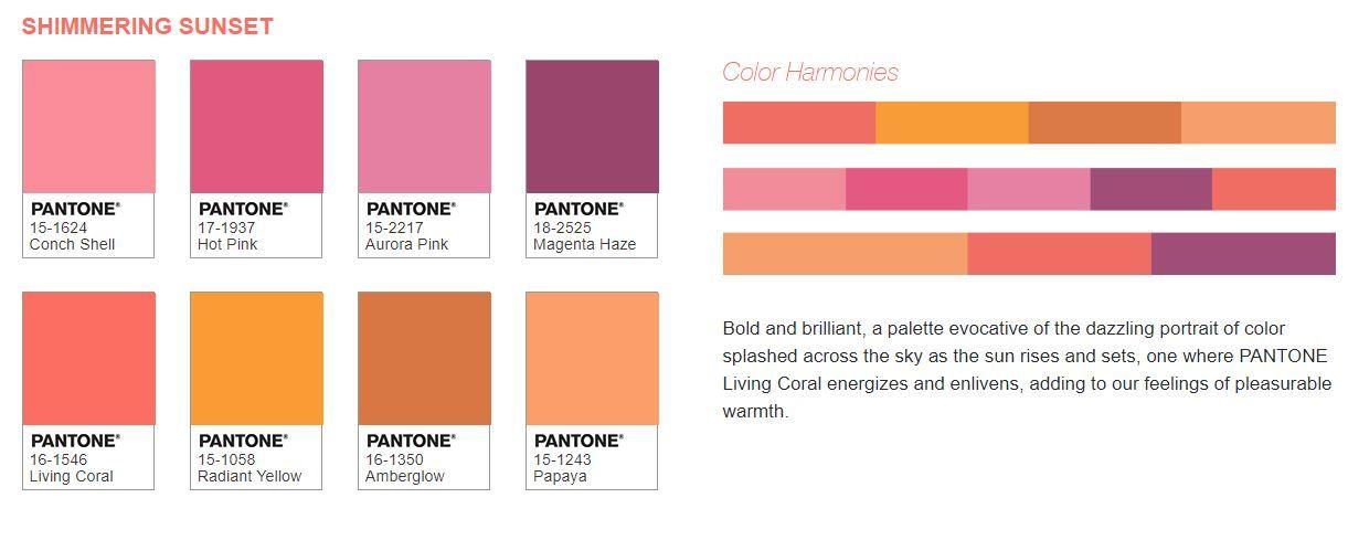 Living Coral Pantone, Sunset color palette, Coral colour