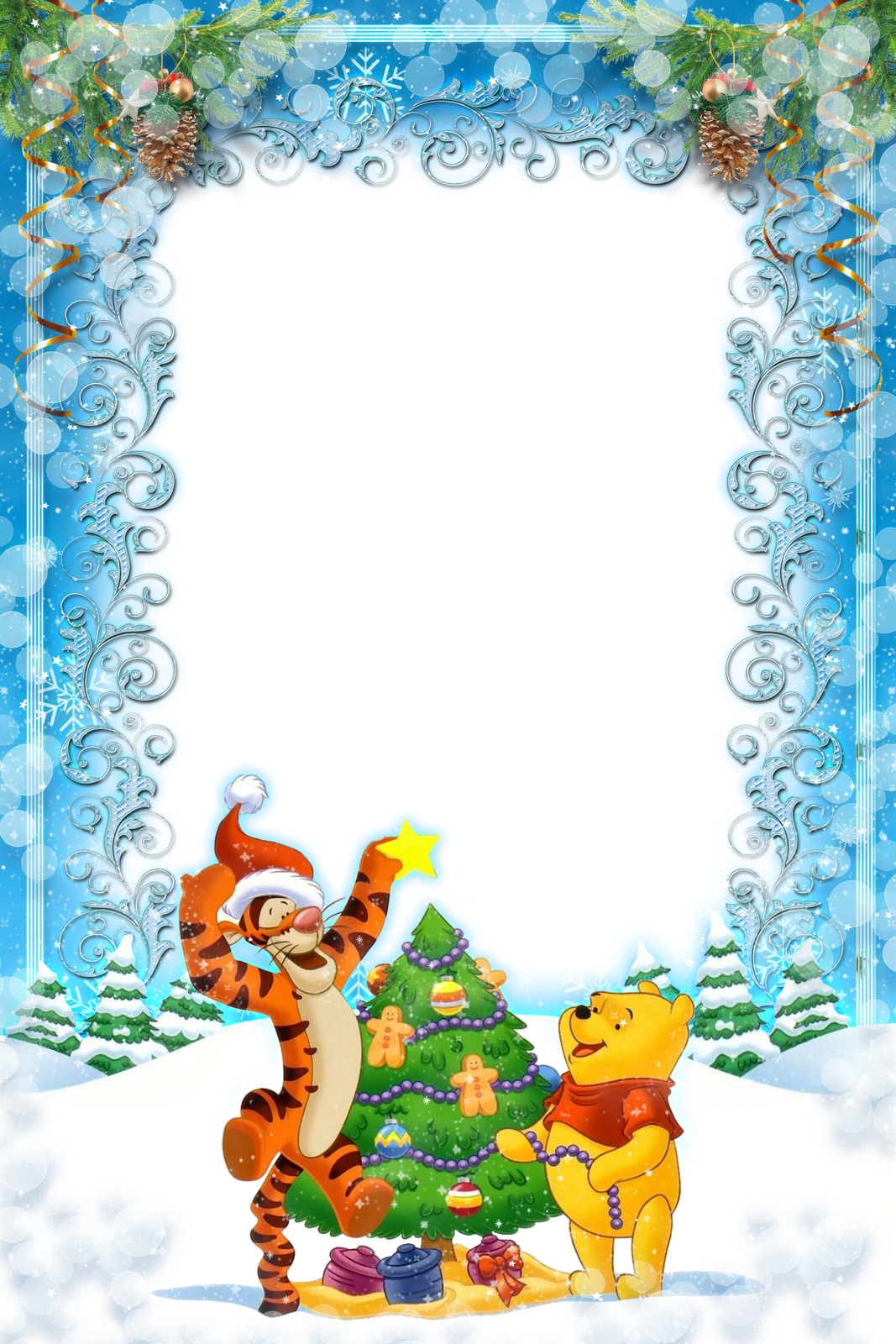 Christmas Top Border Png.Winnie The Pooh And Tigger Putting The Star On The Top Of