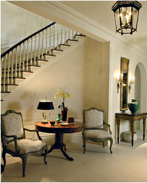 The Staircase Steps Decor Ideas: Like The Look Of The Chairs And Table At Side Of Stairs