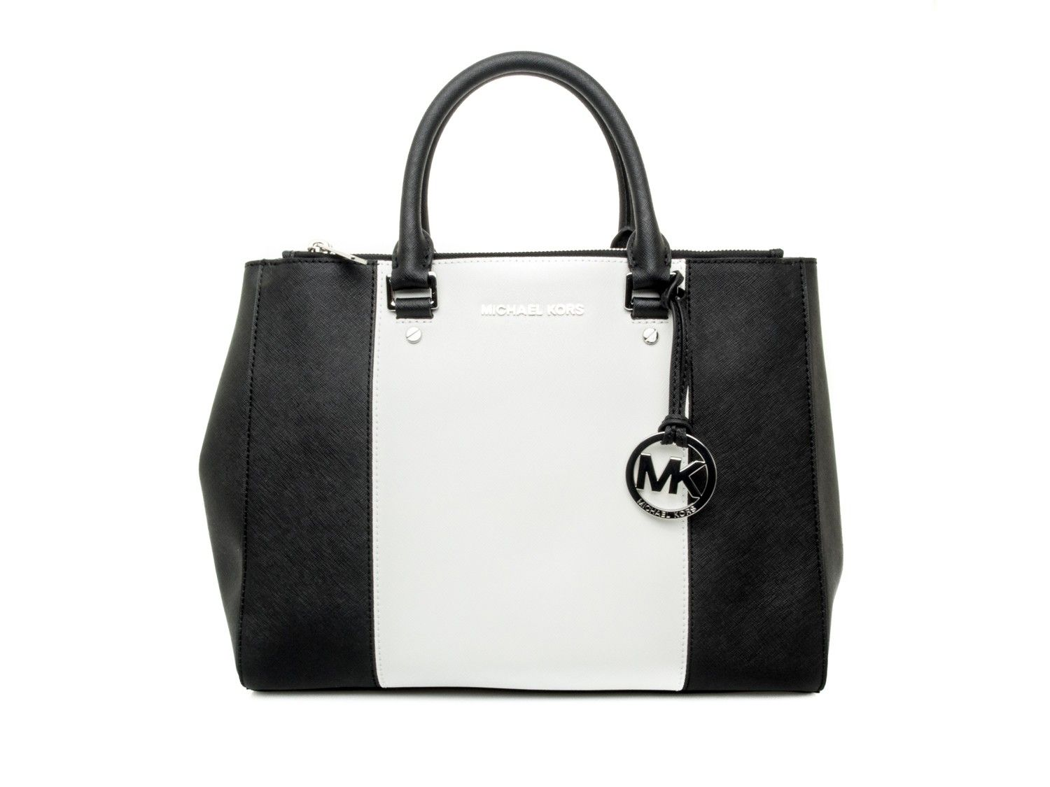 a08deaed92 MICHAEL KORS - Shopping bag in saffiano leather bicolor - Black/white - Elsa -