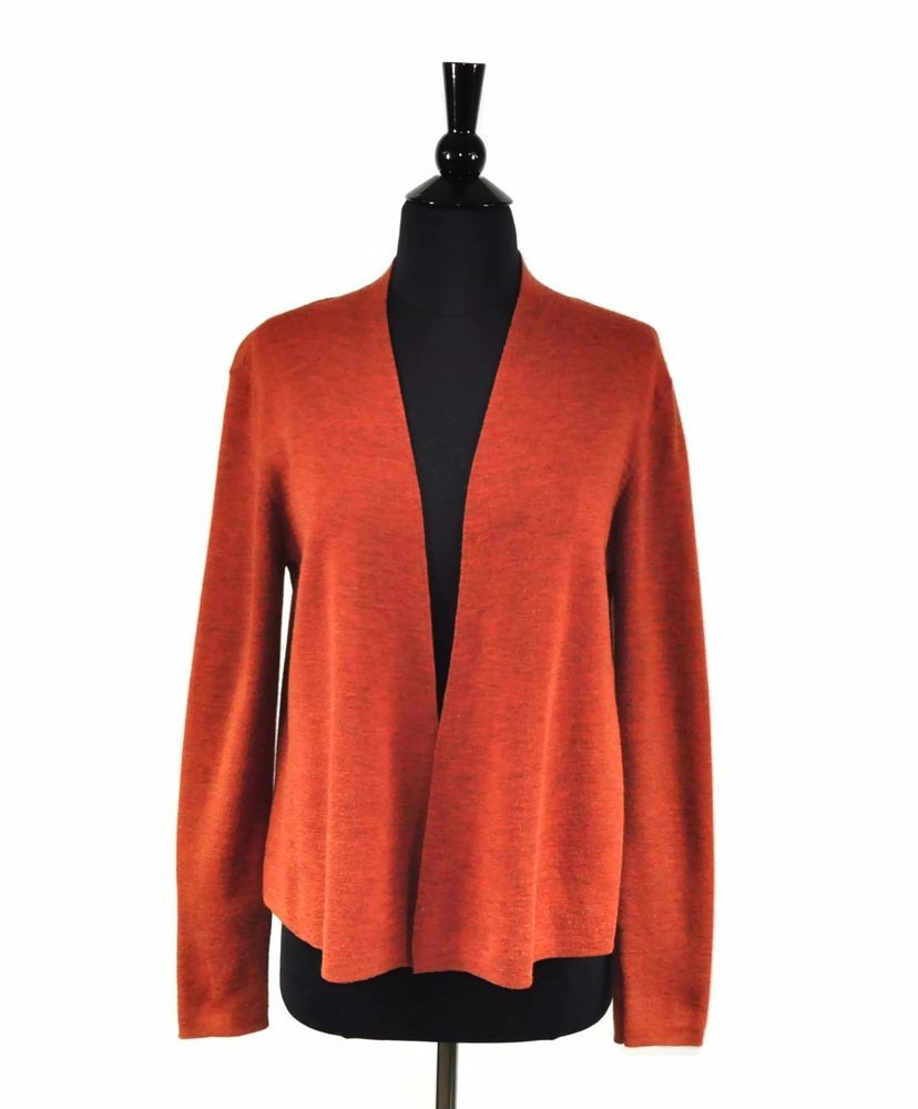Eileen Fisher Burnt Orange Merino Wool Women's Open Cardigan ...