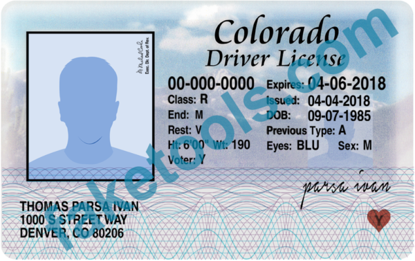 colorado drivers license psd template in 2019