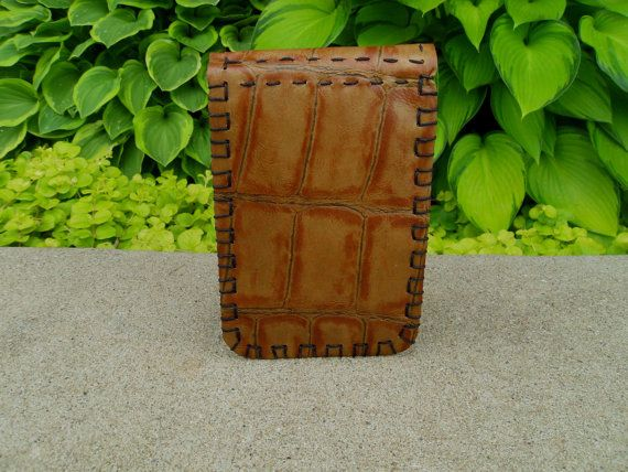Hand Made Leather Golf Scorecard Holder Yardage Book Cover Alligator Printed