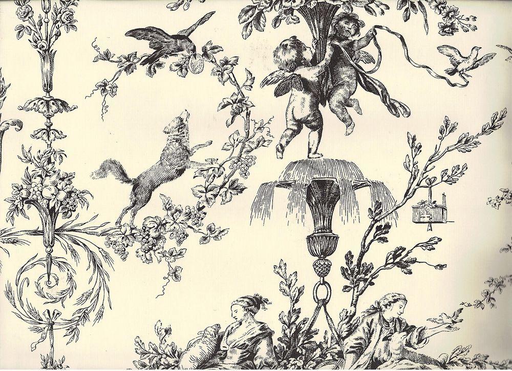 Thibaut Toile Black Cherub Men Women Dog Bird Rose Sheep Parrot Wallpaper T1907 Unbranded Parrot Wallpaper Vintage Wallpaper Patterns