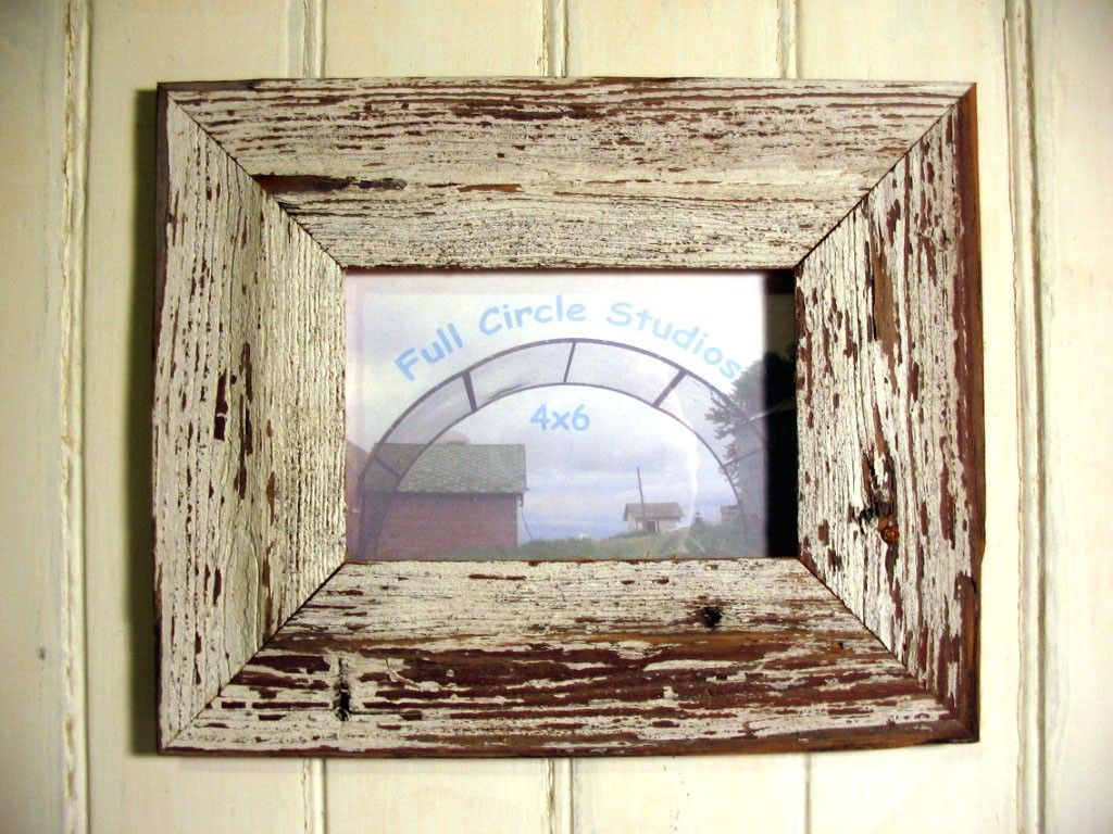 rustic weathered wood frame white paint 4x6