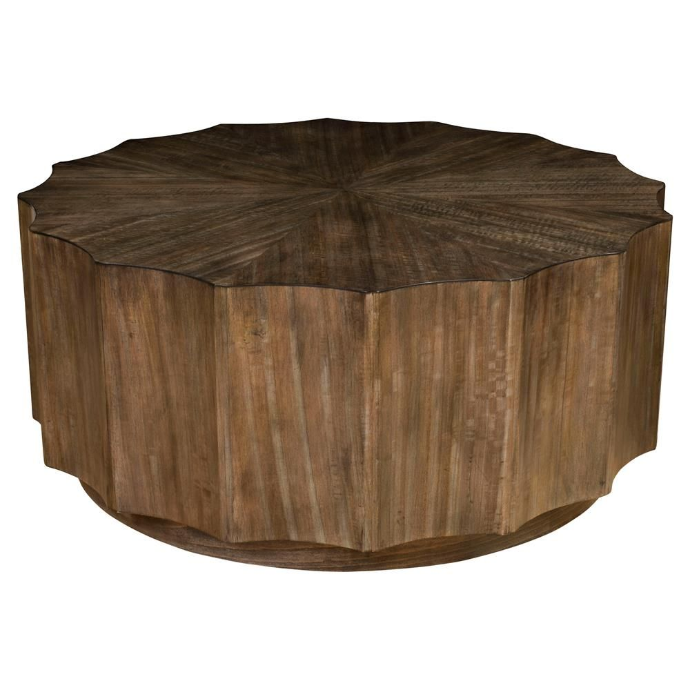 Cyprus Rustic Lodge Round Scalloped Wood Coffee Table | Kathy Kuo Home