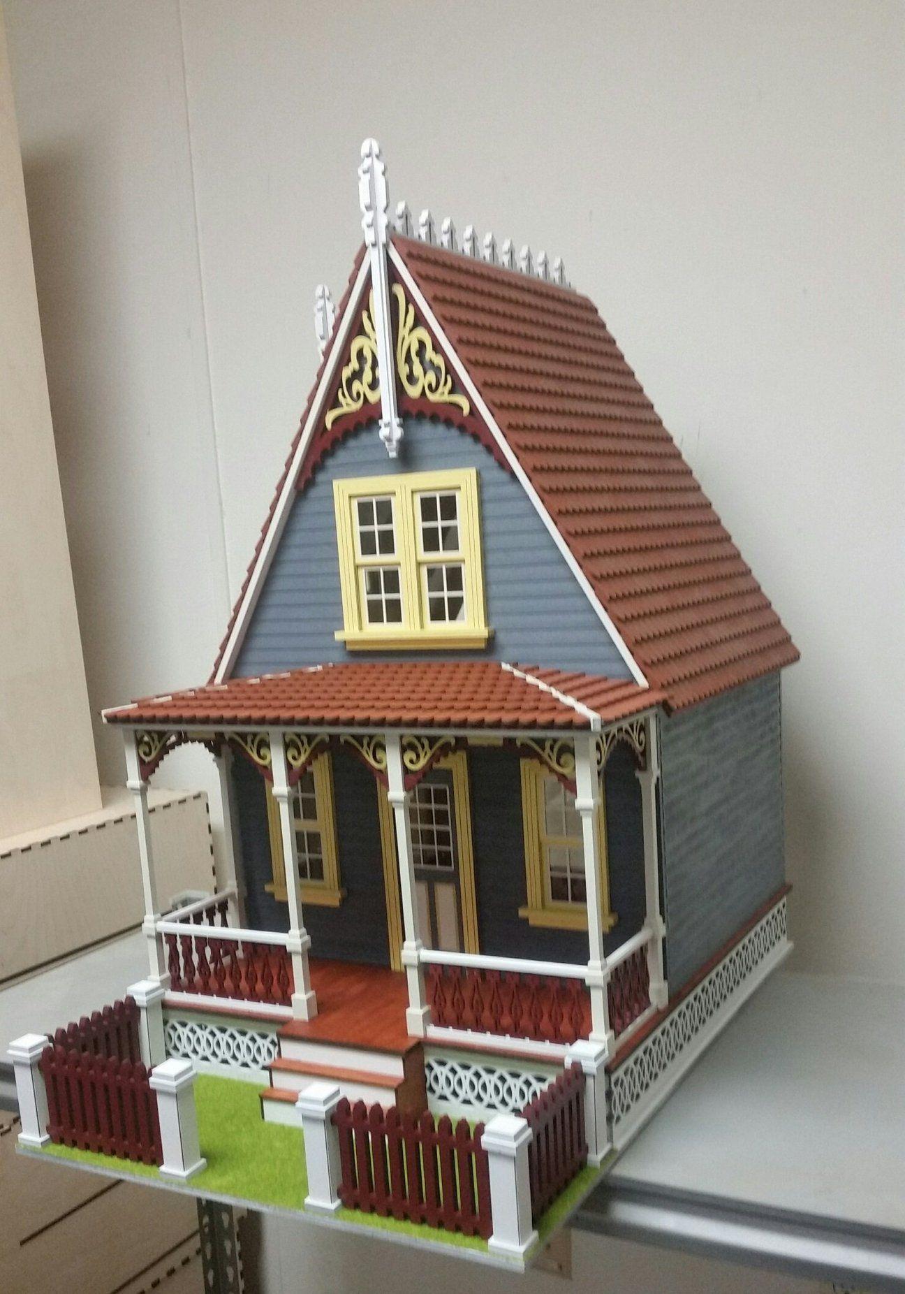 Blue Wooden Dollhouse Cottage Top View Porch Casas Fachadas