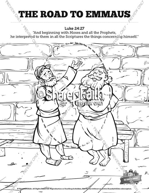 Luke 24 Road To Emmaus Sunday School Coloring Pages Sunday