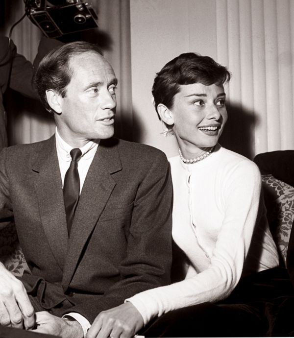 """Audrey Hepburn and Mel Ferrer at a press conference for """"War and Peace"""",1955."""