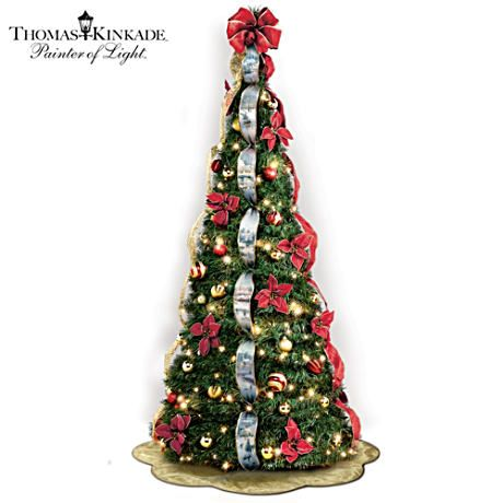 first ever kinkade 6 pre lit pull up christmas tree pre decorated with kinkade artwork ribbons 46 ornaments 200 clear lights much more deckthehalls