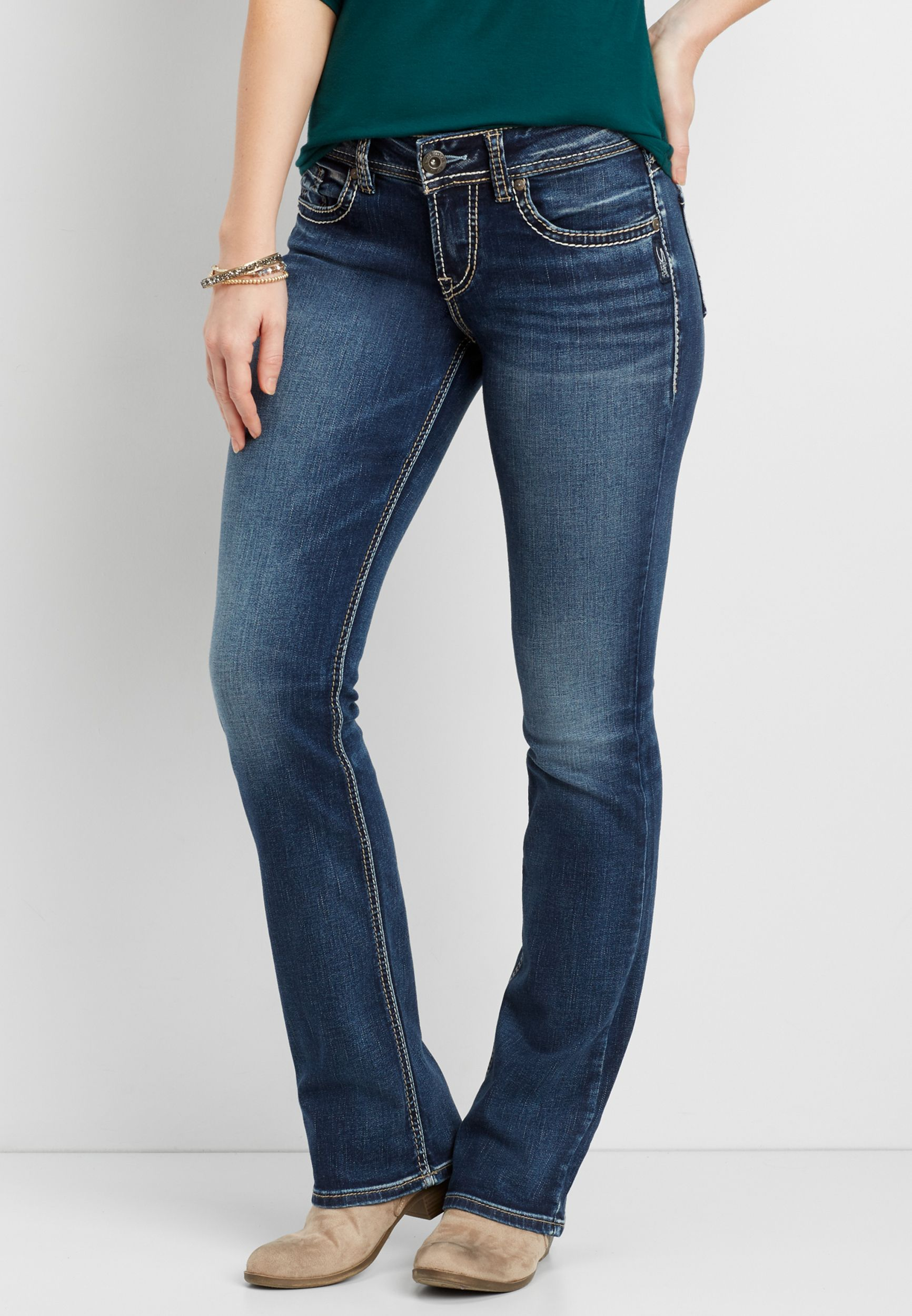 3a70eb61 Silver Jeans Co.® Suki slim boot jeans with pieced back pockets (original  price, $89.00) available at #Maurices