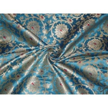 Heavy Silk Brocade Blue, Red x Metallic Gold Color 36""