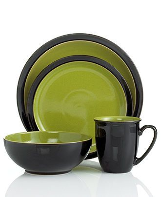 Denby Dinnerware Duets Black 4 Piece Place Setting Dinnerware Dining Entertaining Macy S Dinnerware Lime Green Kitchen Green Dinnerware