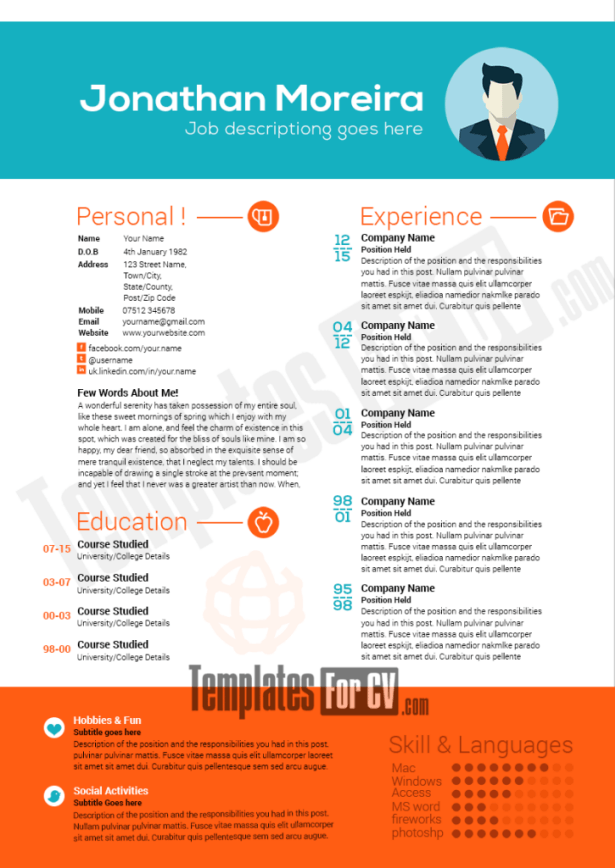free colorful resume templates microsoft word professional download