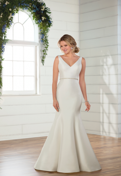 Sleeveless v-neckline satin fit and flare wedding dress with attached beaded belt | Kleinfeld Bridal