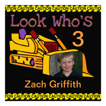 You can easily add your child's photo and party specifics to our customizable add a photo Construction Vehicles birthday invitation! Colorful, and great for kids who love big trucks and bulldozers! #birthday #construction #truck #big #truck #bulldozer #work #cute #colorful #boys #childrens #personalized #caution #customized #custom #peacockcards
