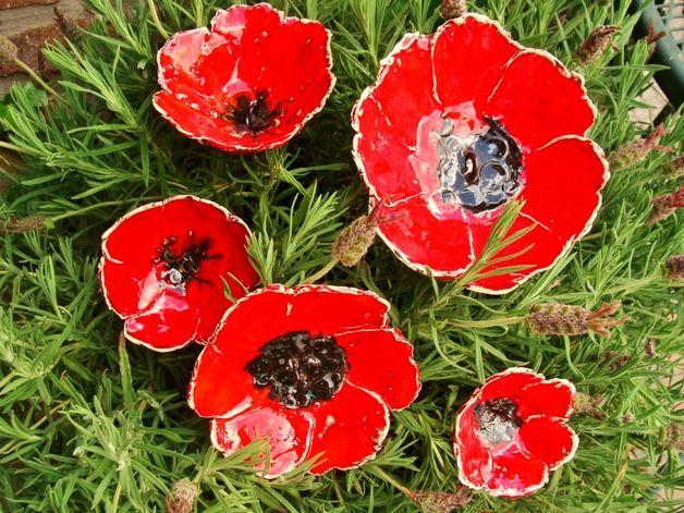 5 coquelicots fleurs jardin poppy Mohn céramique | Pottery - Flowers ...