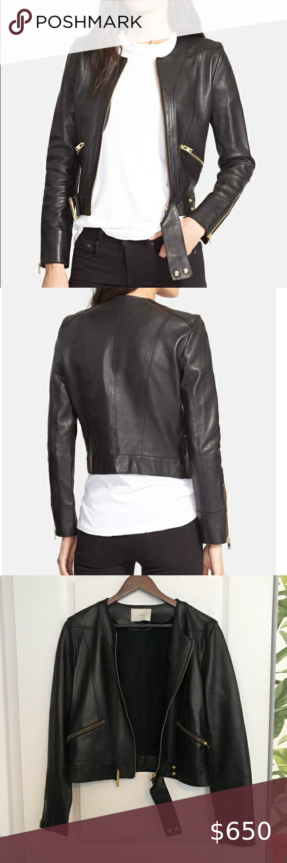 Iro Broome Collarless Belted Leather Jacket Black In 2020 Leather Jacket Black Leather Jacket Collarless [ 1740 x 580 Pixel ]