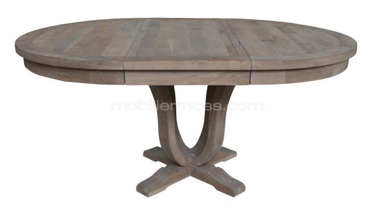 Table A Diner Ronde En Bois Massif Avec Rallonge Helise Table Ronde Bois Salle A Manger Table Ronde Table Bois