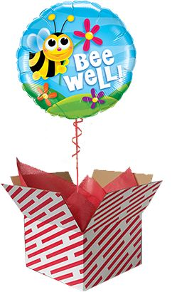 Ee Well Get Balloon Gift Sent Already Inflated In A Red And White Candy Stripe Box