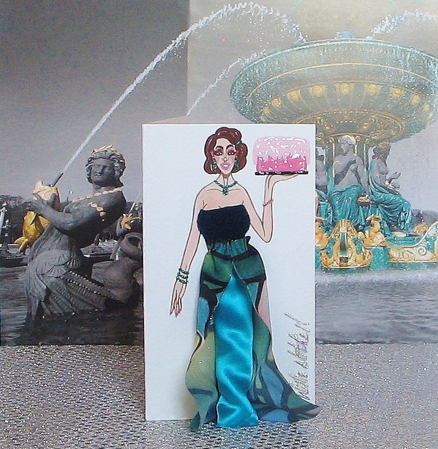Medium 3-D Fashion Greeting Card (Sweet Deluxe Spring 2017 Edition) by WMitchellDesigns on Etsy