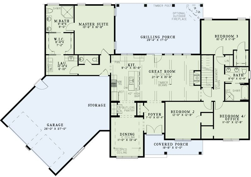 Home Plan Of The Week 8 12 13 Ndg1403 Beautiful Small Home Plan With An Angled Two Car Garage Offering Plent New House Plans Floor Plans House Plans