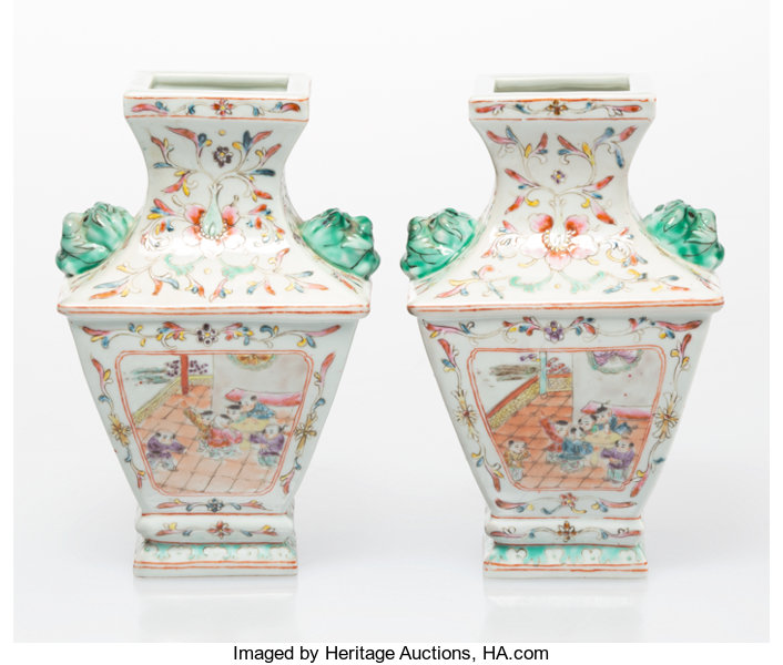 A Pair Of Chinese Enameled Porcelain Vases Marks Four Character Lotid 30001 Heritage Auctions Porcelain Vase Porcelain Vase