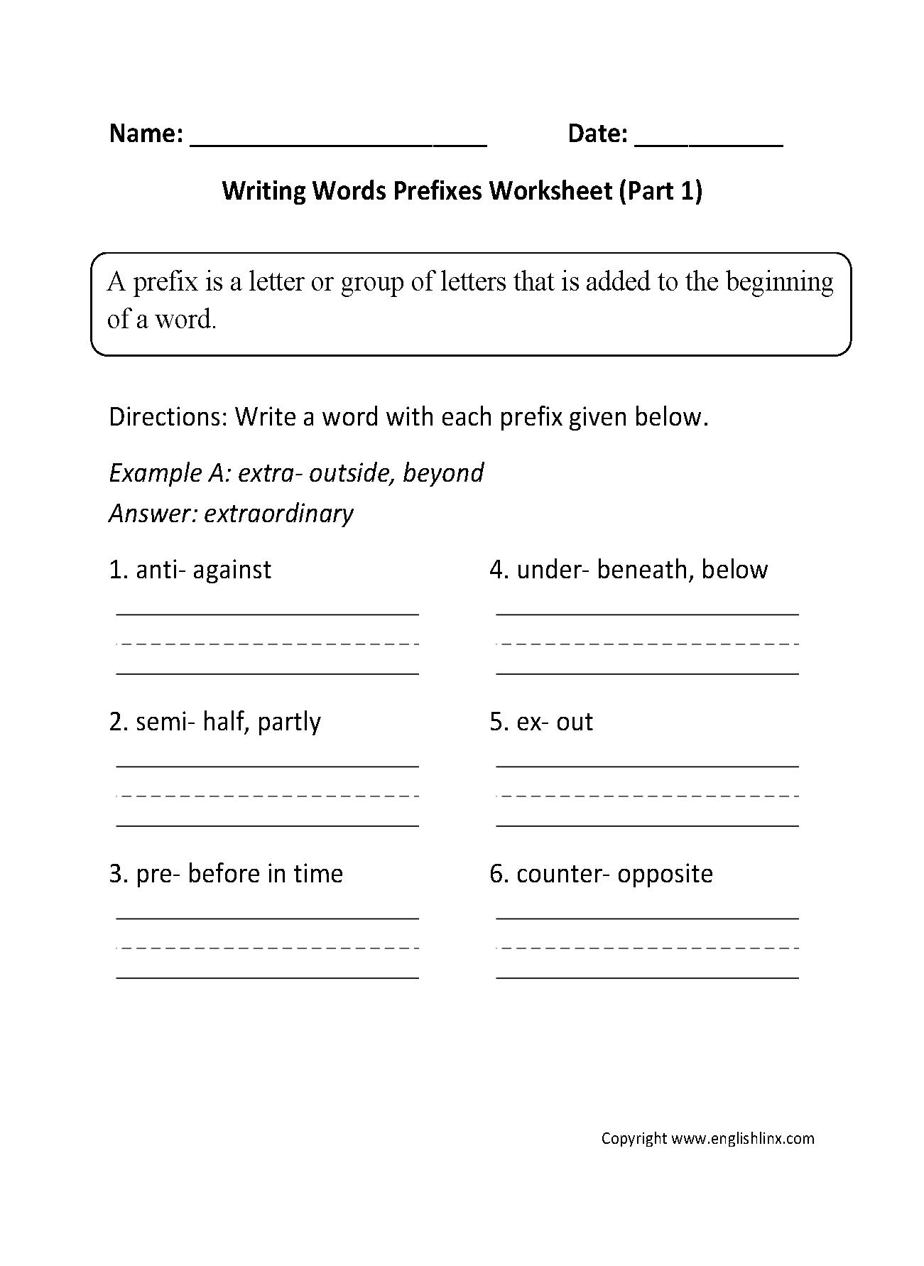 Writing Words Prefixes Worksheet Part 1