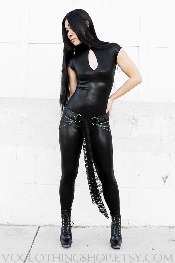 0642f889ba1 BLACK METALLIC CATSUIT in shiny wet-look spandex with short sleeves ...